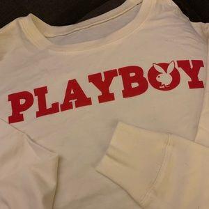Vintage Tops - Vintage Cropped Playboy Sweatshirt